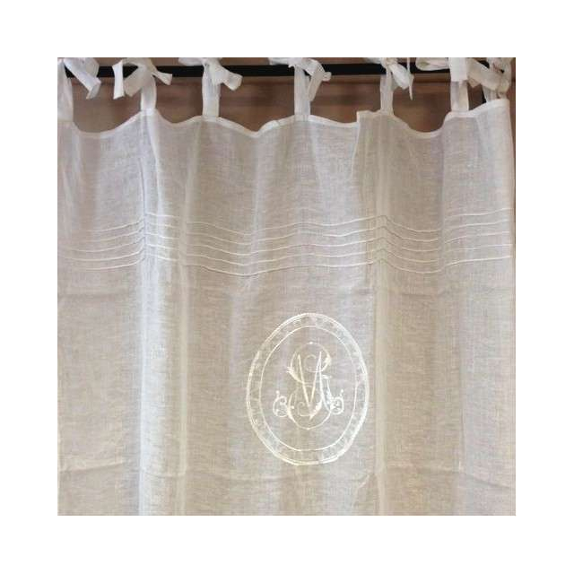 Long Rideau Voilage Blanc Monogramme Brodé Ambiance Charme serapportantà Rideau En Lin Blanc