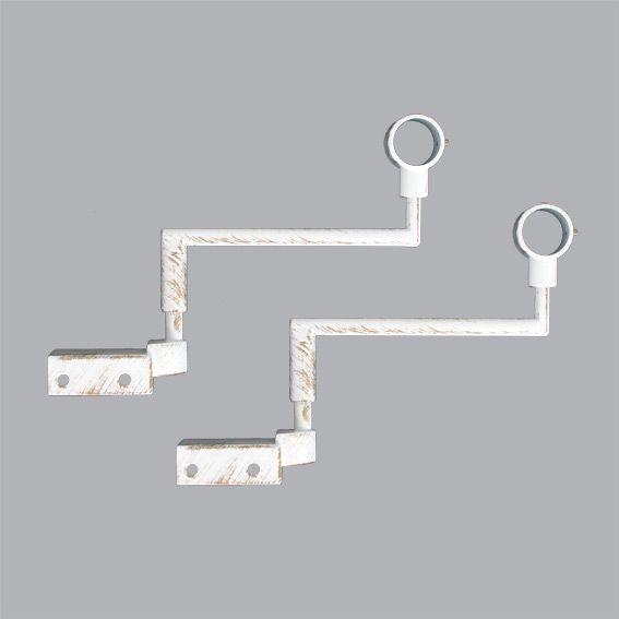 Lot De 2 Supports Sans Perçage Blanc - Accessoire Et serapportantà Tringle Rideau Extensible Sans Perçage