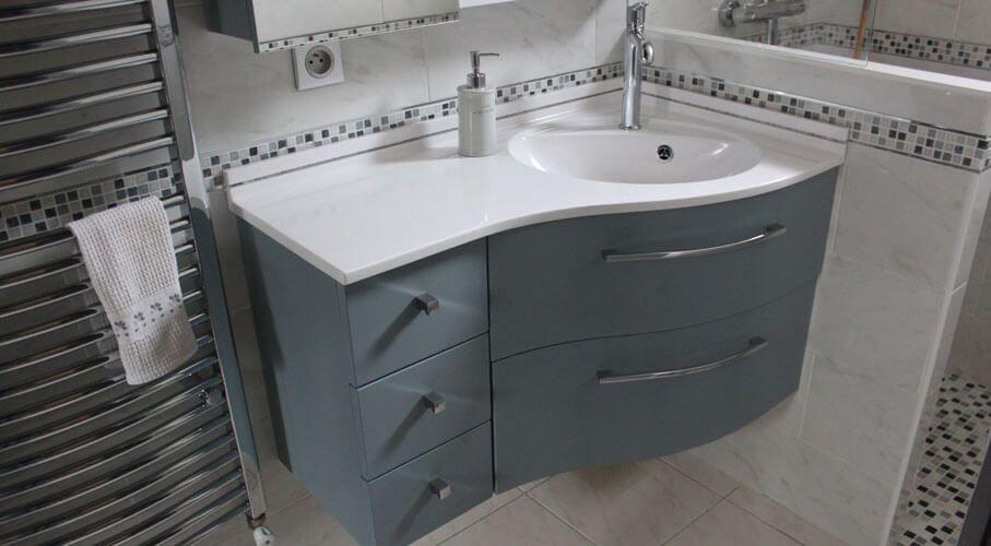 Meuble D'Angle Moderne Et Sur Mesure Pour Salle De Bains dedans Plan De Toilette Sur Mesure