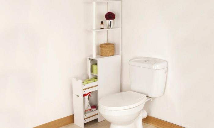 Meuble De Rangement Toilettes Ou Salle De Bains | Groupon encequiconcerne Placard Pour Toilette