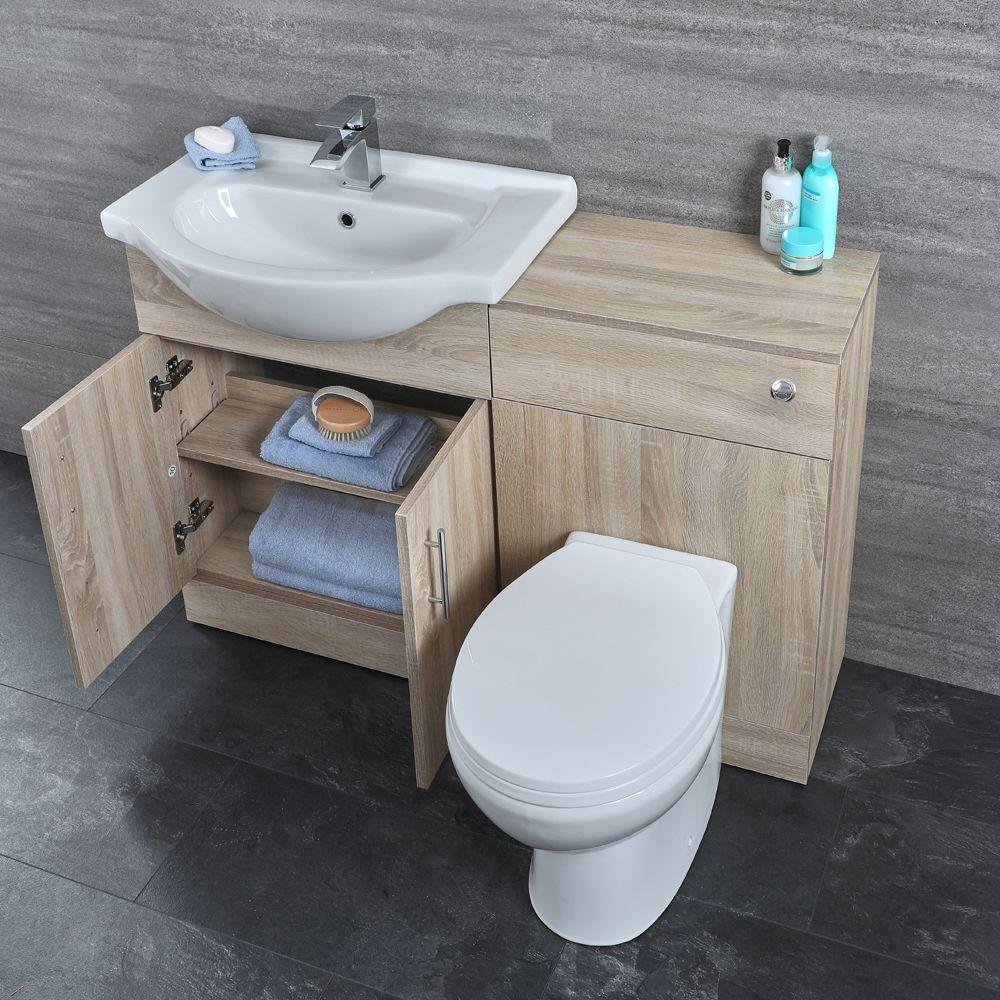 Meuble-Lavabo & Toilette Wc 51X78X30Cm Classic Oak à Toilette Au Lavabo