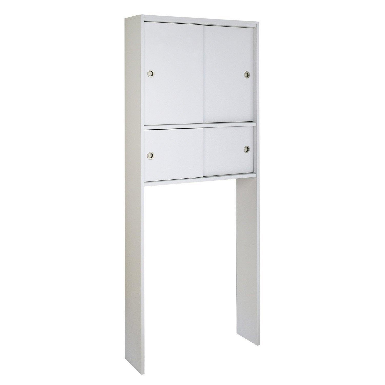 Meuble Pour Wc À Poser L.76 X H.190 X P.22 Cm Blanc intérieur Toilettes Leroy Merlin