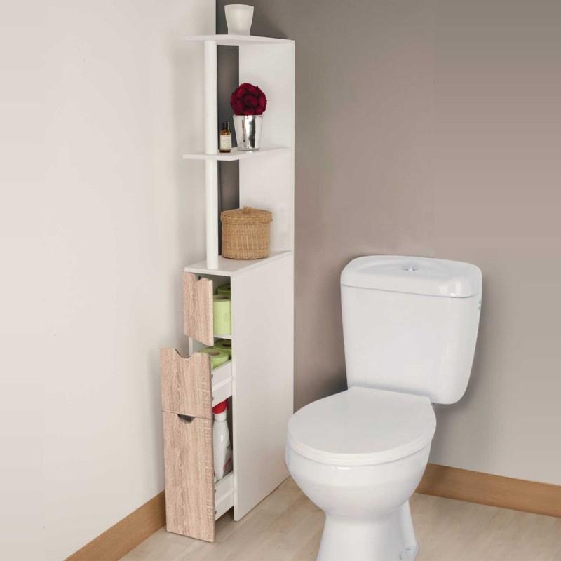 Meuble Wc Étagère Bois 3 Portes Coloris Hêtre Gain De intérieur Placard De Toilette