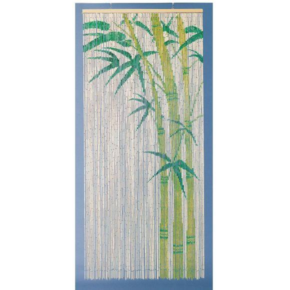 Morel - Rideau De Porte Bambou Peint Motif Bambou 90X200Cm destiné Rideau De Porte En Bambou