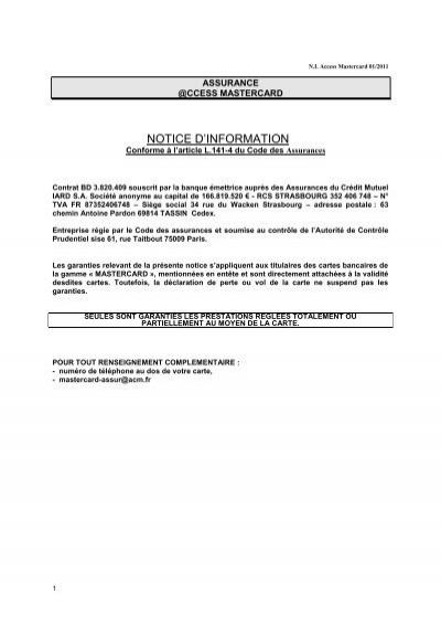 Notice D'Information - Crédit Mutuel pour 63 Chemin Antoine Pardon 69814 Tassin Cedex