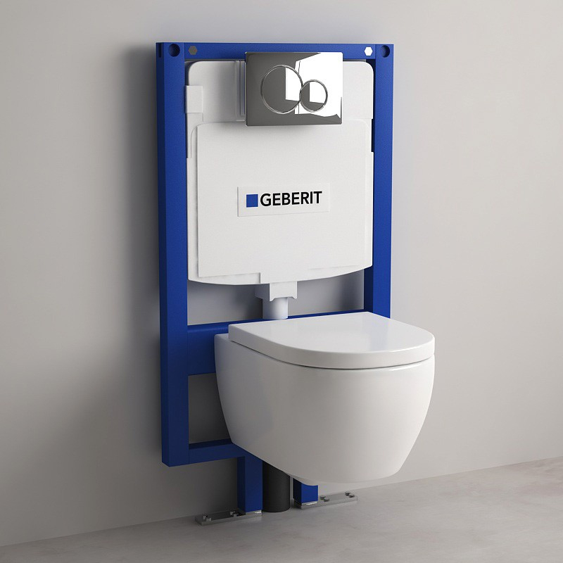Pack Bati-Support Geberit 9 Cm + Wc Orba Compact Blanc tout Toilette Suspendu Geberit