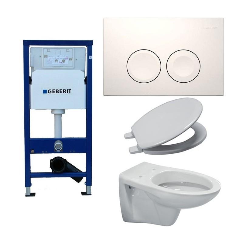 Pack Toilette Suspendue Geberit Complet Touche Blanche intérieur Toilette Suspendu Grohe