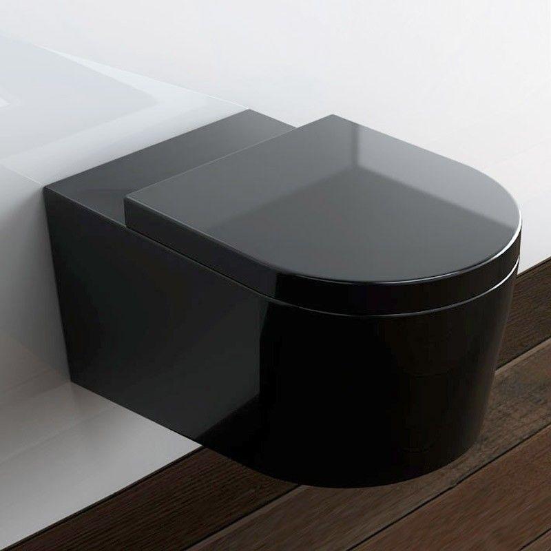Pack Wc Suspendu Orba Noir Et Bati Support Geberit dedans Toilette Noir Suspendu