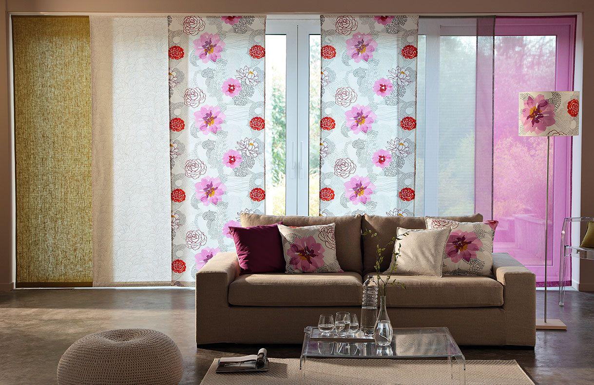 Panneaux Japonais Mistigri Tissu À Fleurs Roses Et Rouges dedans Rideau Japonais Design