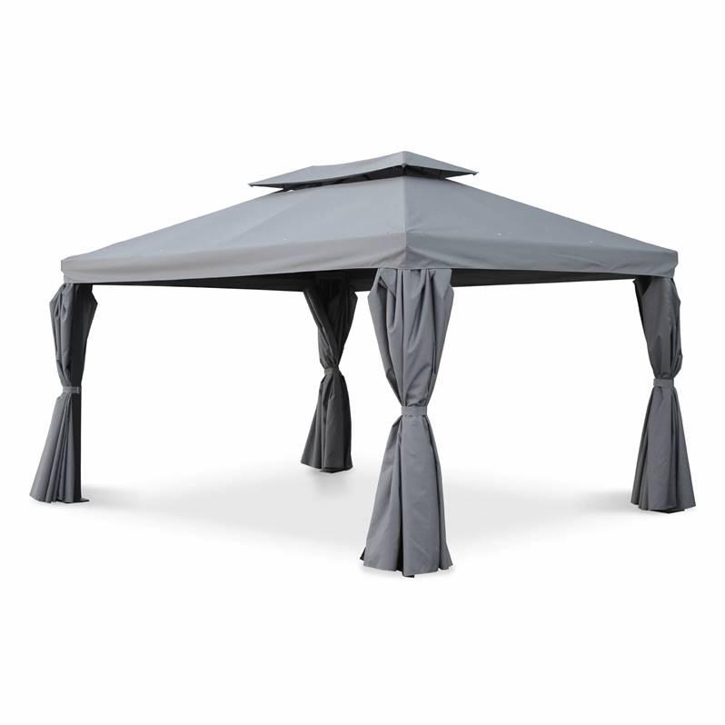 Pergola Aluminium - Divodorum 3X4M - Toile Grise dedans Rideau De Tonnelle