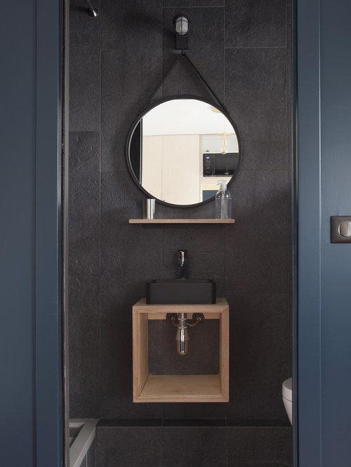 Photos Et Idées Déco De Wc Et Toilettes Contemporains tout Toilette Noir Suspendu