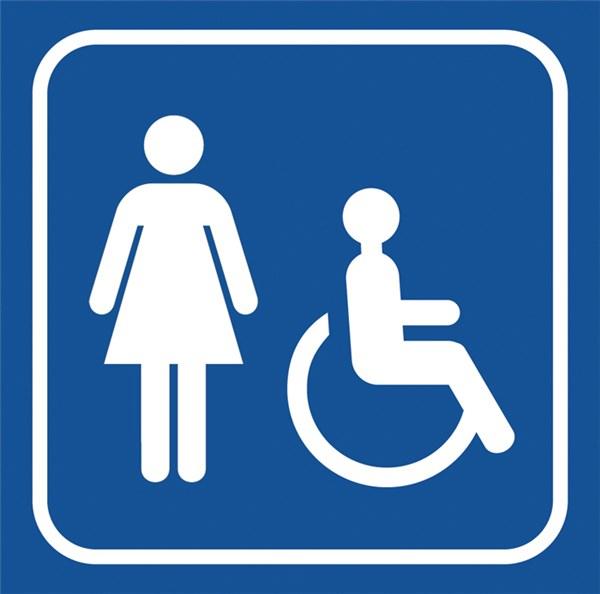 Picto Gravé Toilettes Femmes Handicapées - Gamme Couleur destiné Toilettes Handicapés