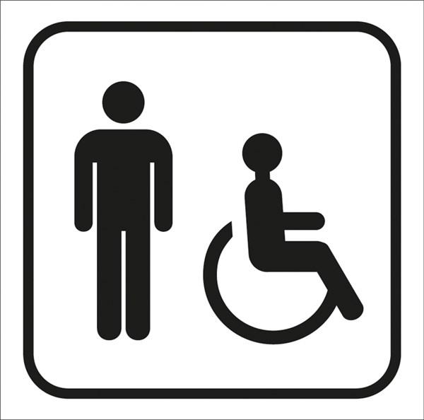 Picto Gravé Toilettes Hommes Handicapés - Gamme Couleur à Toilette Pmr