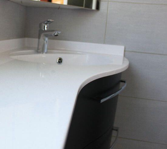 Plan De Toilette Solid Surface Galbé Sur Mesure Pour avec Plan De Toilette Sur Mesure