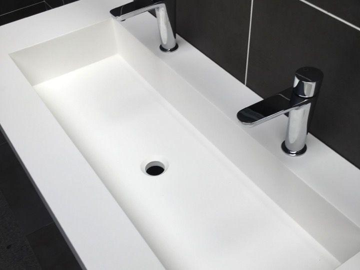 Plan Toilette Avec Double Vasque Intégrée 50 X 120 Cm avec Plan De Toilette Sur Mesure