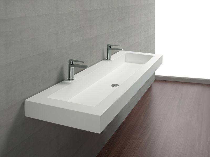Plan Toilette Avec Double Vasque Intégrée 50 X 120 Cm intérieur Plan De Toilette Sur Mesure