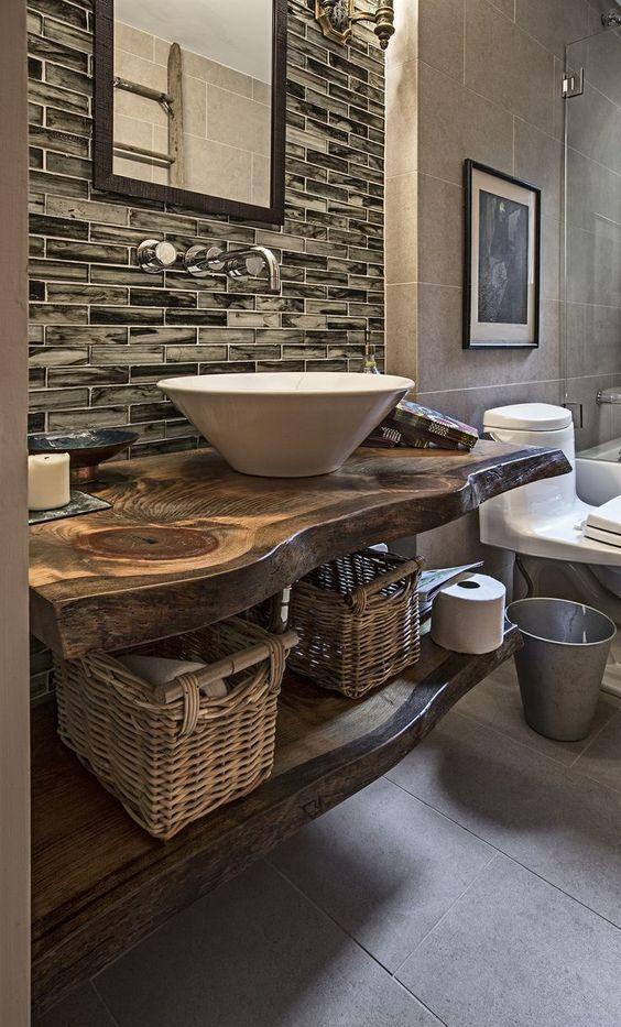 Plan Vasque Bois Brut Dans La Salle De Toilette – Osez Le dedans Plan De Toilette Bois