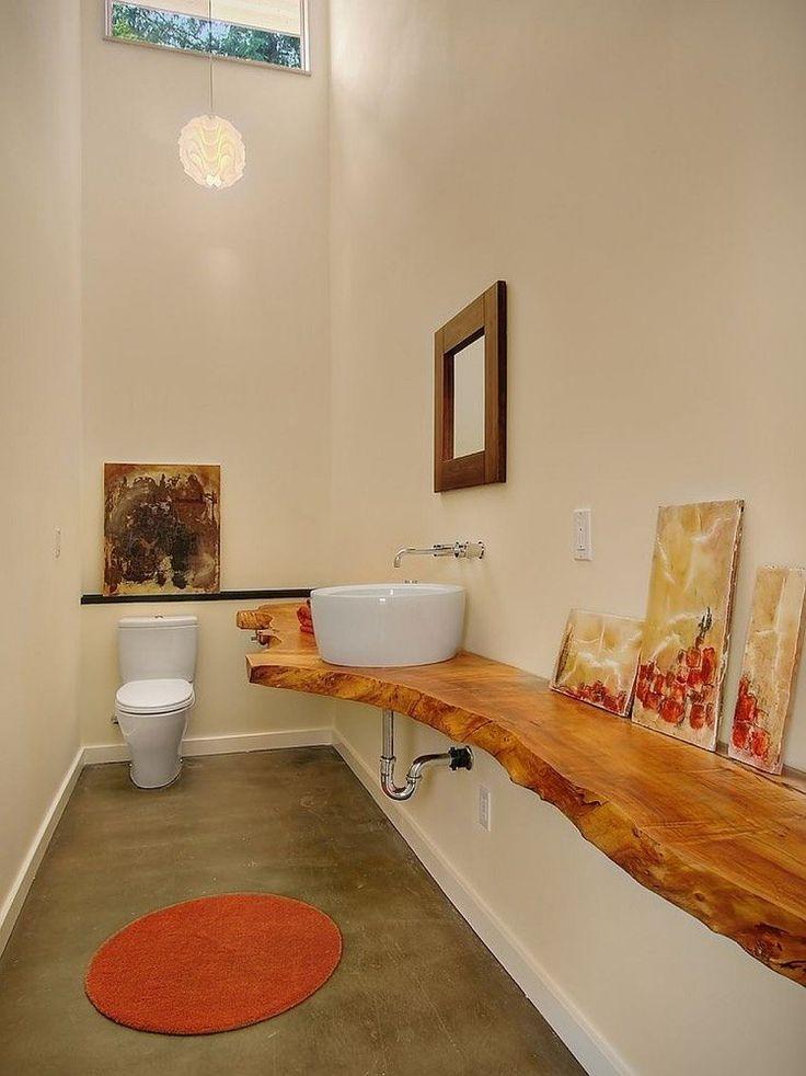 Plan Vasque Bois Brut Dans La Salle De Toilette – Osez Le encequiconcerne Plan De Toilette Bois
