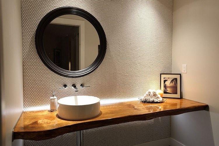 Plan Vasque Bois Brut Dans La Salle De Toilette – Osez Le tout Plan De Toilette Bois