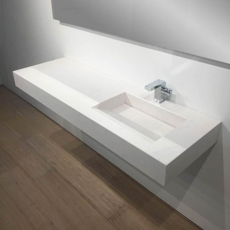 Plan Vasque Salle De Bain Suspendu 141X46 Cm, Excentré avec Plan De Toilette Sur Mesure