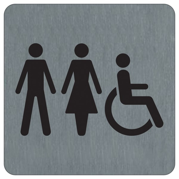 Plaque Alu Brossé Toilettes Femmes Hommes Handicapés - 100 dedans Toilettes Handicapés