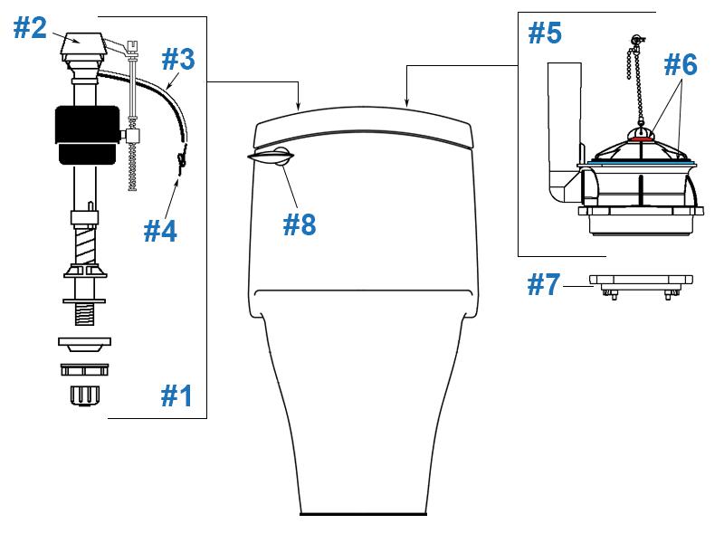 Porcher Veneto Series Toilet Repair Parts tout Toilette Porcher