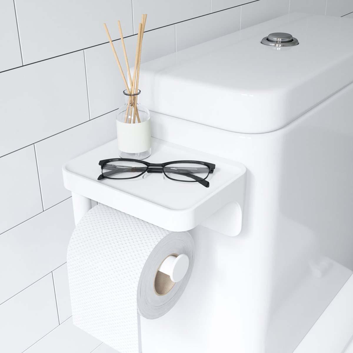Porte Papier Toilette À Ventouse - Blanc pour Ventouse Toilette