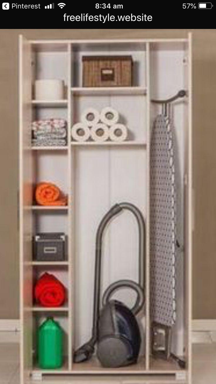 Rangement Placard Ménage   Rangement Aspirateur, Meuble intérieur Placard Toilette