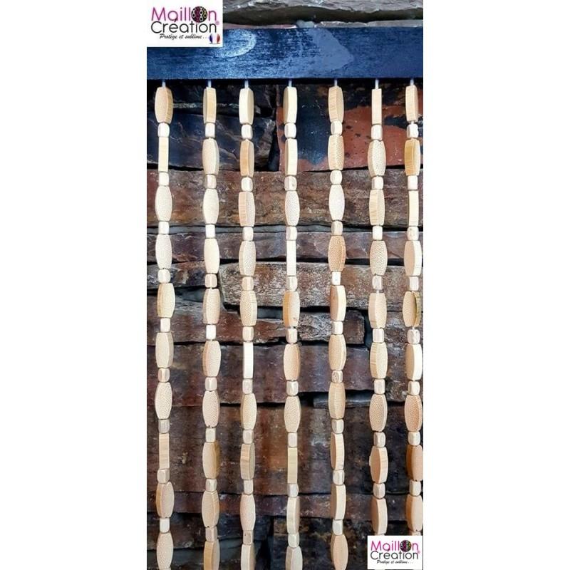 Ravissant Rideau De Porte En Perle De Bois Et Bambou dedans Rideau En Perle