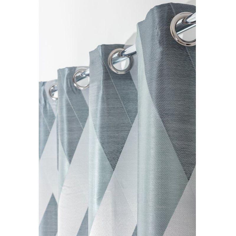 Rideau 140 X 240 Cm À Oeillets Formes G Éom Étriques Bleu avec Rideau Forme Geometrique