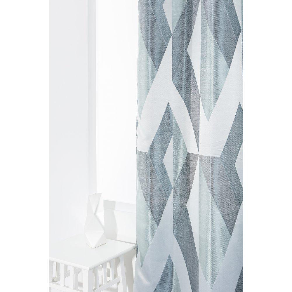 Rideau-140-X-240-Cm-Oeillets-Formes-Geometriques-Bleu avec Rideau Forme Geometrique