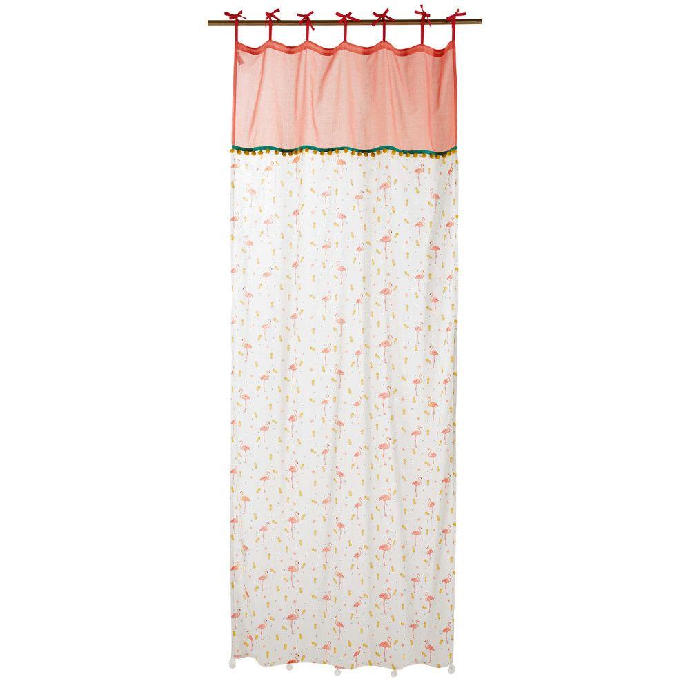 Rideau À Nouettes En Coton Motifs Tropicaux 110X250   Pink intérieur Rideau Flamant Rose