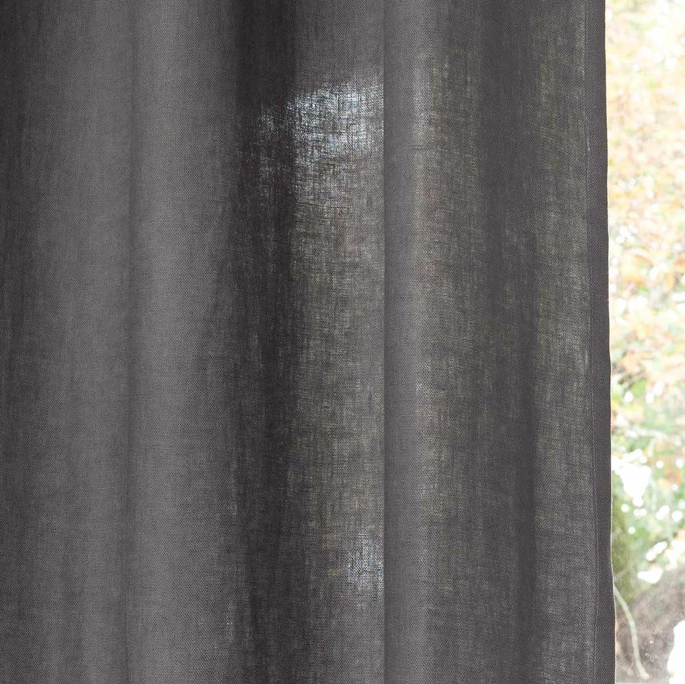 Rideau À Œillets En Lin Lavé Gris 130X300 | Maisons Du Monde encequiconcerne Rideau En Lin Gris