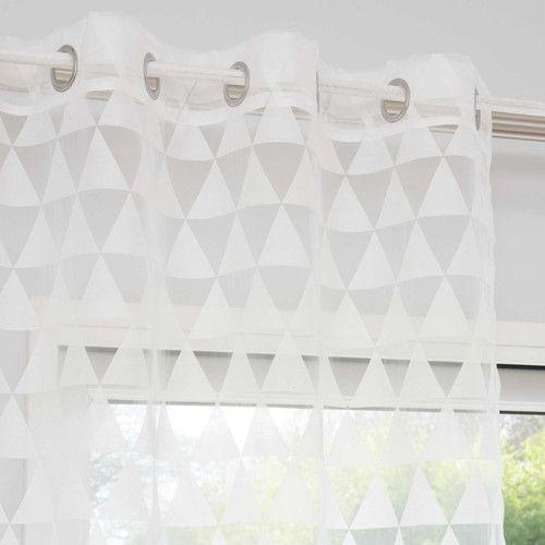 Rideau À Œillets Motifs Triangles Blancs 140 X 250 Cm Trix dedans Rideau Gris Et Rose