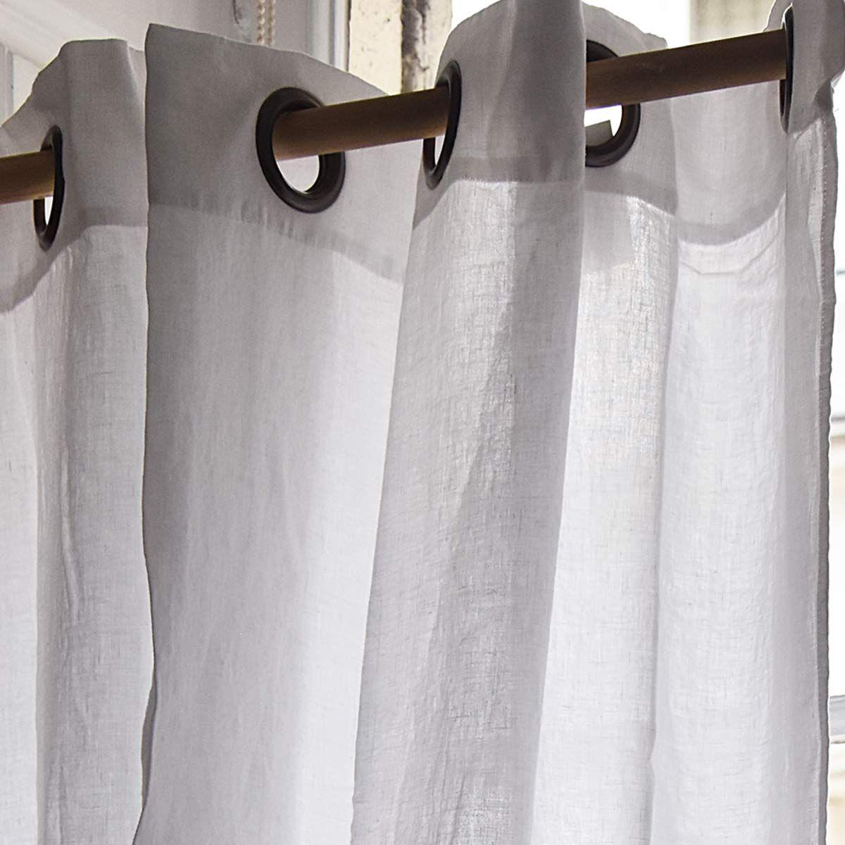 Rideau À Oillets En Lin Épais Propriano Blanc Harmony encequiconcerne Rideau En Lin Blanc