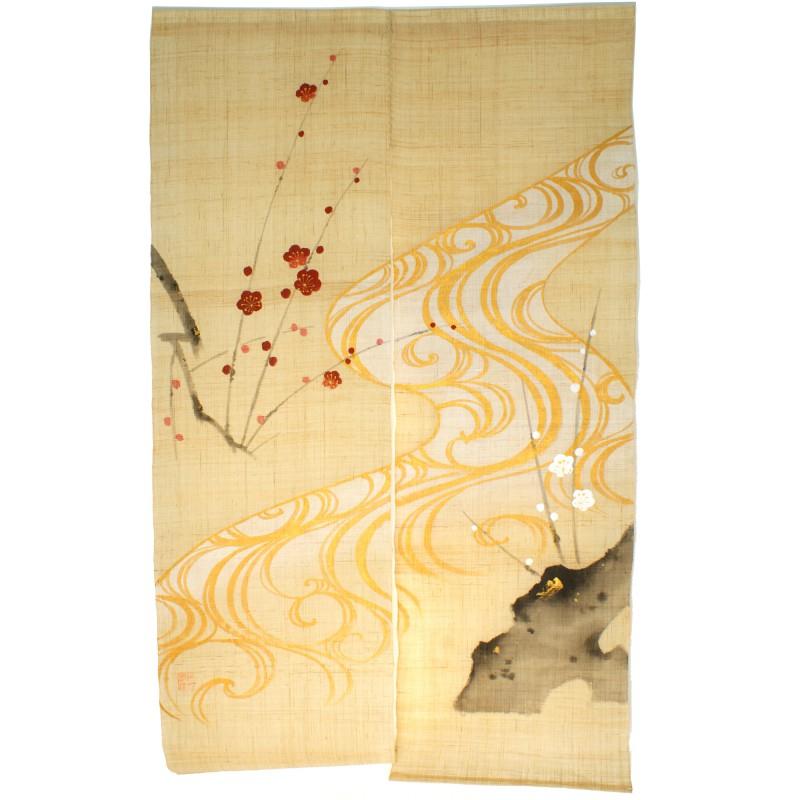 Rideau Beige Noren Japonais En Lin Plum encequiconcerne Rideau Japonais Design