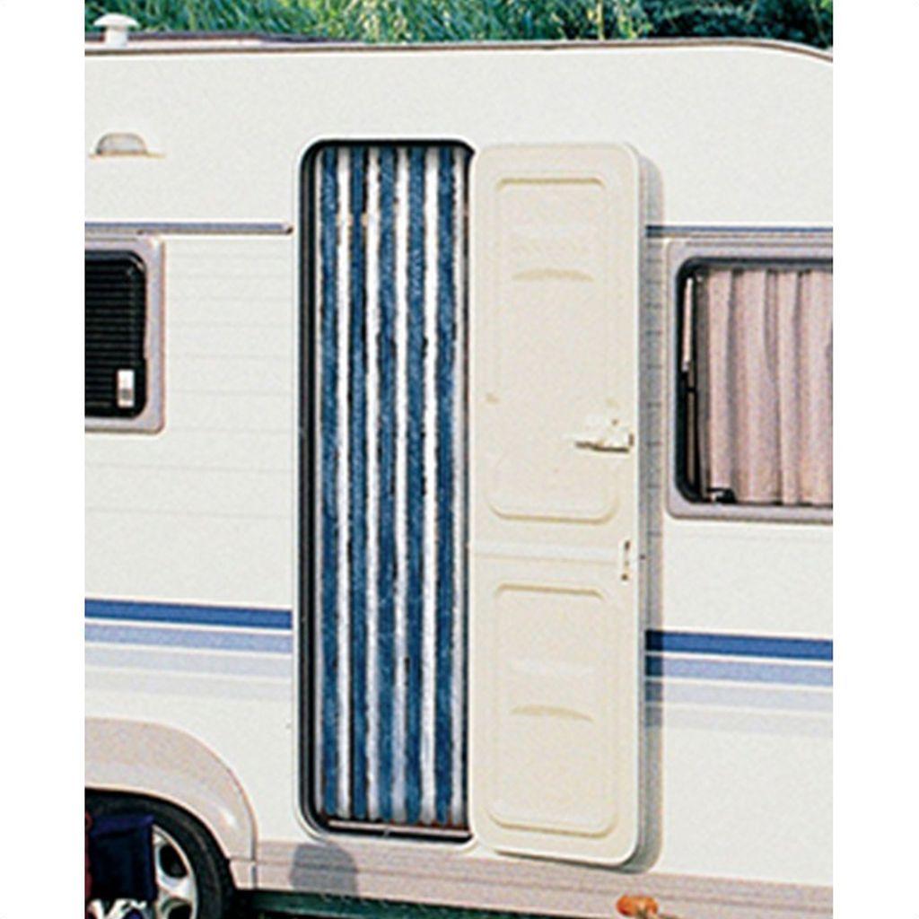 Rideau Chenille Camping-Car - 56×195 Cm - Bleu Et Bleu tout Rideau Isotherme Exterieur Camping Car