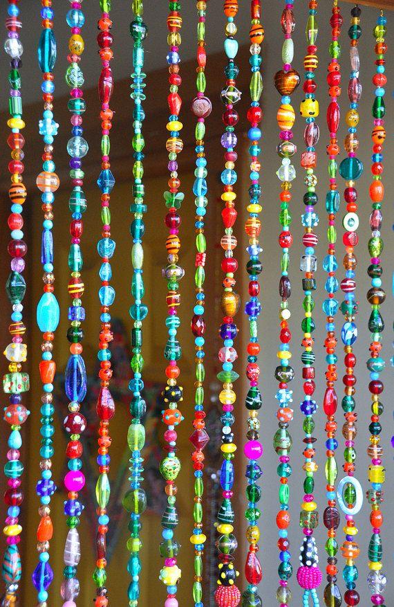 Rideau Coloré De Perle De Verre De Boho Avec Des Cloches dedans Rideau En Perle