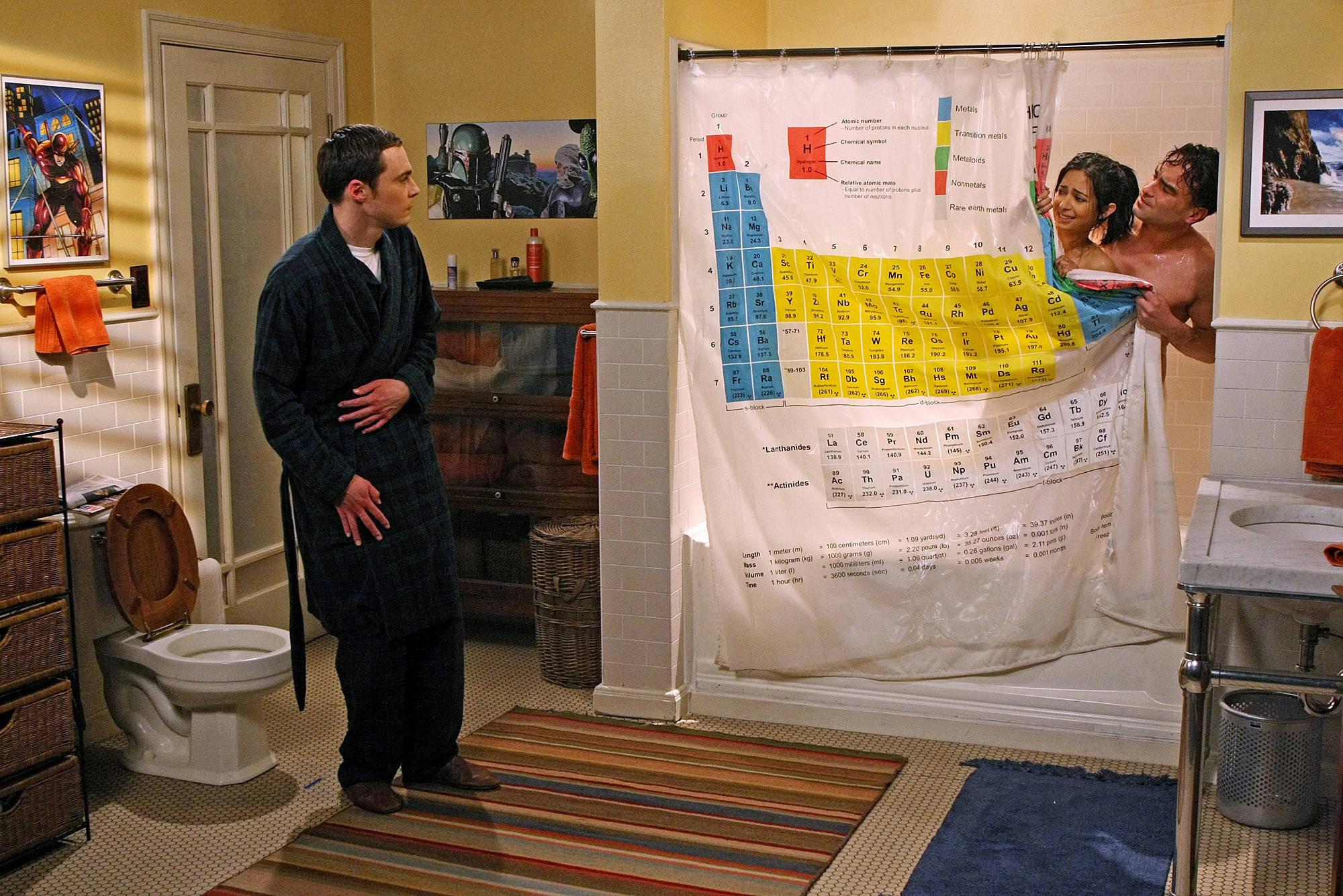 Rideau De Douche Tableau Périodique Big Bang Theory Pour tout Rideau Geek
