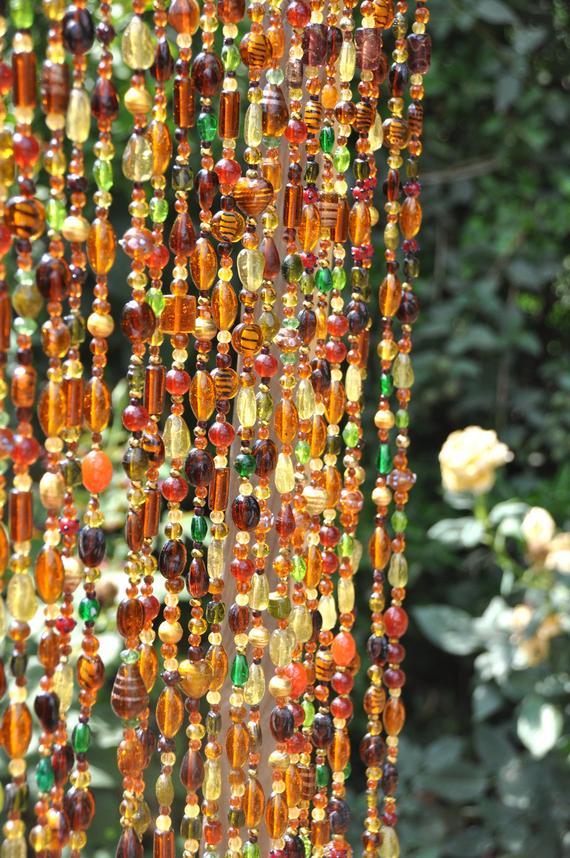 Rideau De Perles Verre Prismes-Main Perlés Rideau Porte serapportantà Rideau De Perles De Bois Provençaux