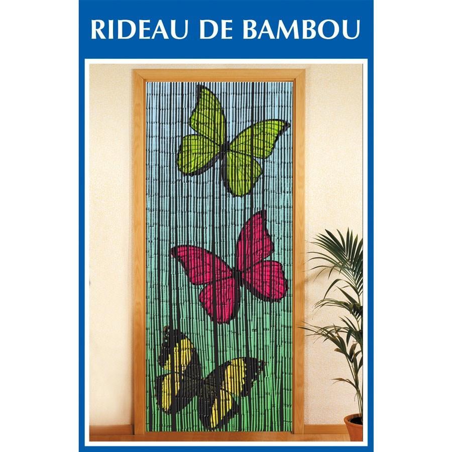 Rideau De Porte Bambou - 3 Papillons à Rideau De Porte En Bambou