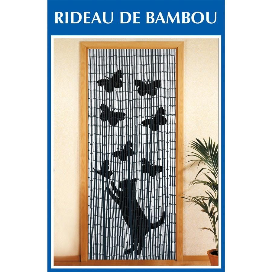 Rideau De Porte Bambou - Chat Et Papillon encequiconcerne Rideau De Porte Bambou