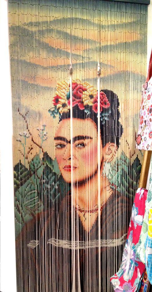 Rideau De Porte Fantaisie En Bambou Frida Khalo Kitsch intérieur Rideau De Porte Bambou