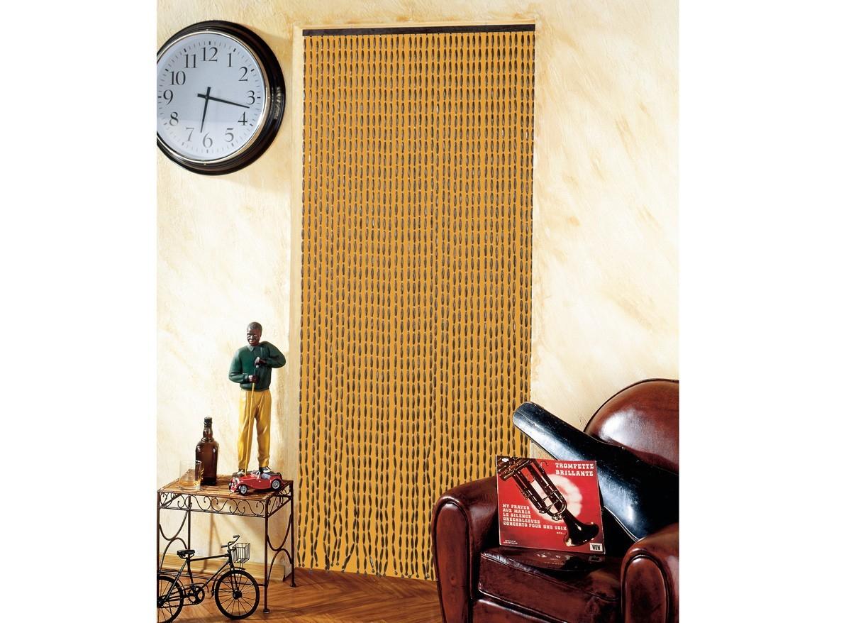 Rideau De Porte Moustiquaire En Perles De Bois 90 X 200 Cm dedans Rideau En Plastique Exterieur
