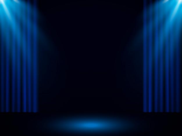 Rideau De Scène Bleu Avec Projecteur | Vecteur Premium à Rideau De Scene