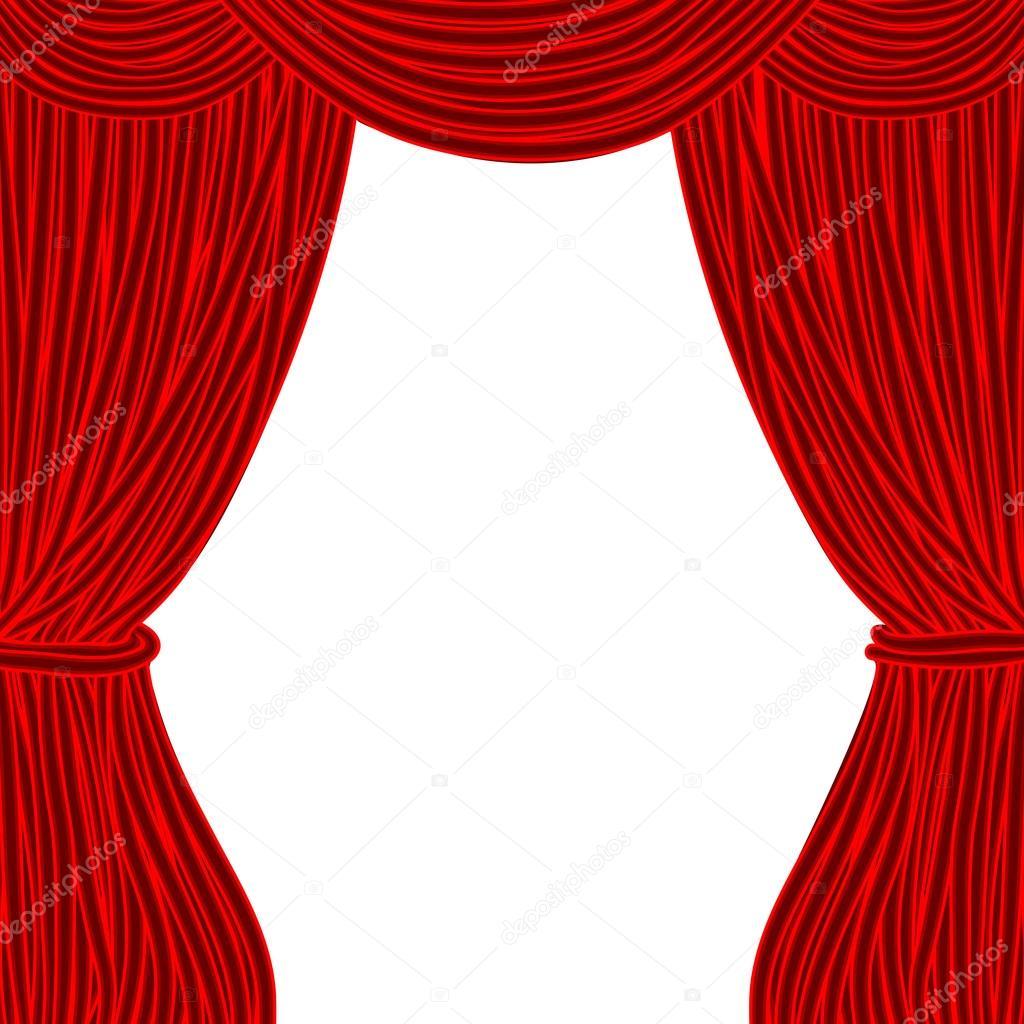 Rideau De Théâtre De La Place Rouge Isolé Sur Fond Blanc serapportantà Rideau De Theatre