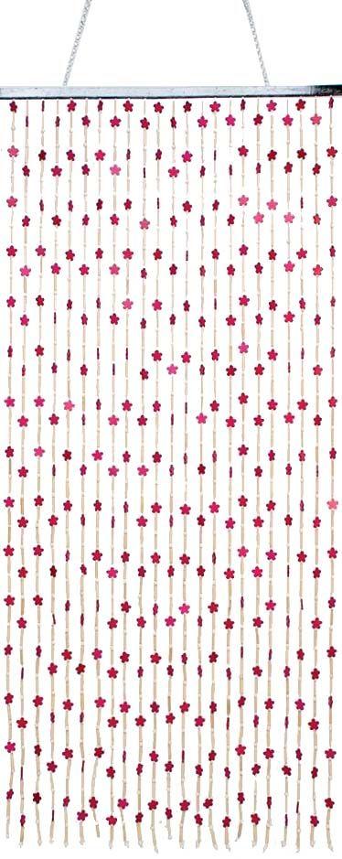 Rideau En Perles De Bois Motifs Fleurs Et Batonnets En Bambou encequiconcerne Rideau De Perles De Bois Provençaux