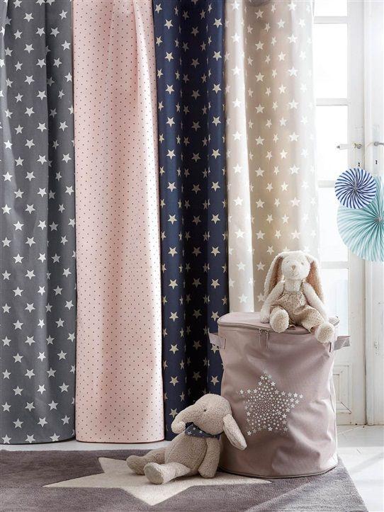 Rideau Imprimé En Coton Avec Oeillets Bleu Grise/Etoiles tout Rideau Enfant Fille