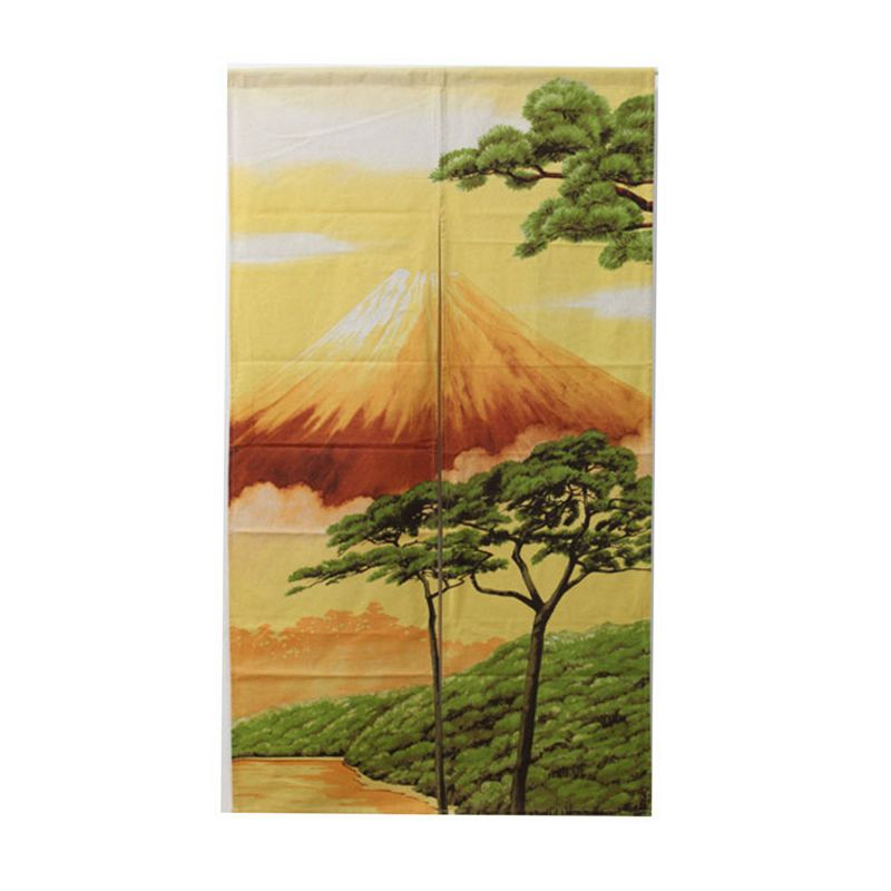Rideau Japonais Noren, Paysage Mont Fuji Et Pin à Rideau Japonais Design