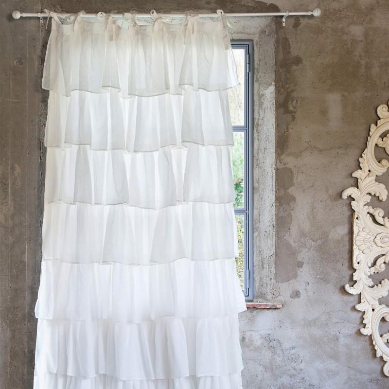 """Rideau Long Shabby """"Fru Fru"""" Avec Volants Blancs 150 X 285 dedans Rideaux Shabby Chic"""